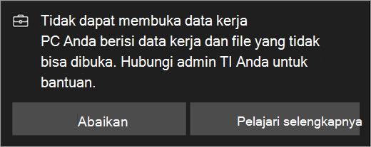 Tidak dapat membuka data kerja