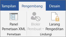Pada tab pengembang, dalam grup proteksi, klik Batasi pengeditan
