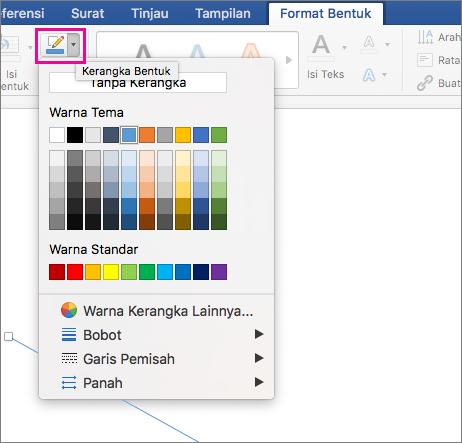 Tab Format Bentuk dengan Kerangka Bentuk disorot.