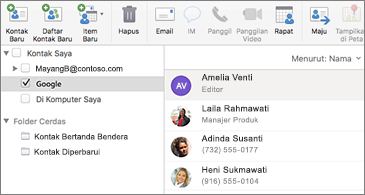 Daftar kontak memperlihatkan kontak Google
