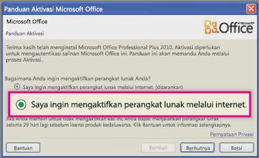 Aktifkan perangkat lunak melalui Internet