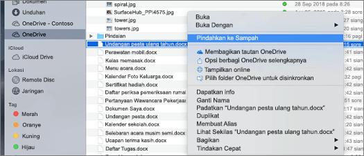 Pemilihan menu klik kanan untuk menghapus file dari OneDrive di Mac Finder