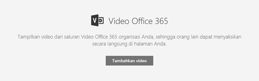 Cuplikan layar dialog Tambahkan video Office 365 di SharePoint.