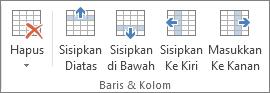 Opsi dalam grup Baris & Kolom