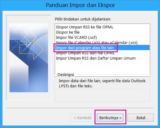 Memilih untuk mengimpor email dari program atau file lain