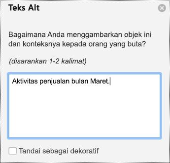 Panel teks Alt untuk bagan di PPT untuk Mac di Office 365.