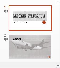 Simbol dengan angka menunjukkan adanya komentar pada slide