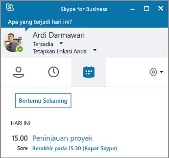 Cuplikan layar tab Rapat jendela Skype for Business.