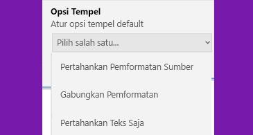 Daftar opsi tempel