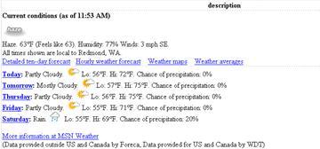 Tampilan Data dari Cuaca MSN