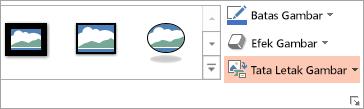 Memperlihatkan tombol tata letak gambar pada Format tab