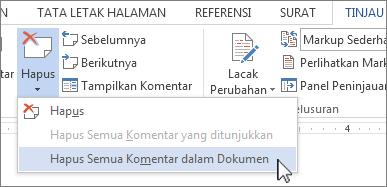 Perintah Hapus Semua Komentar di Dokumen di menu Hapus Komentar