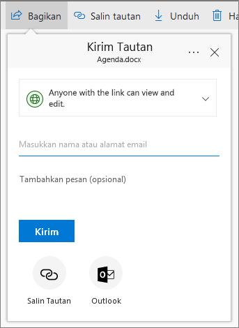 Berbagi file atau folder di OneDrive for Business