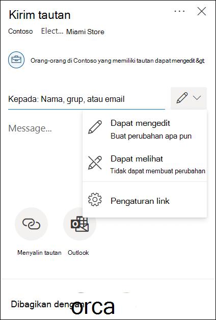 OneDrive izin berbagi dengan opsi edit atau tampilkan saja.