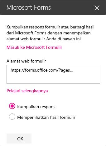 Panel komponen web Microsoft Forms untuk formulir yang sudah ada.