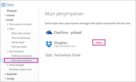 Menghapus akun penyimpanan dengan masuk ke Opsi > email > akun Penyimpanan