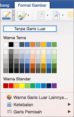 Warna kerangka untuk batas gambar diperlihatkan.