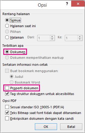 Kosongkan Properti dokumen untuk menghindari pembagian informasi tersebut dalam file PDF.