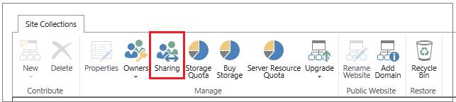 pita dari pusat admin SharePoint Online dengan tombol Berbagi disorot