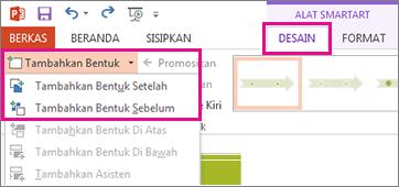 Pada tab Desain, klik Tambahkan Bentuk.