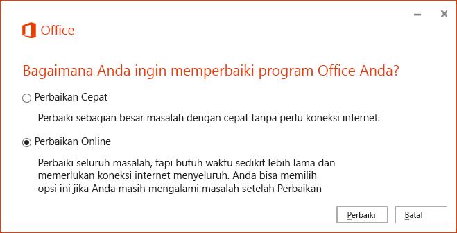Kotak Dialog Perbaikan Office ketika memperbaiki aplikasi sinkronisasi OneDrive for Business
