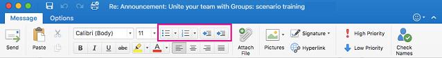 Tombol daftar di pita Outlook untuk Mac
