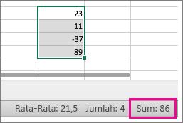 Pilih kolom angka untuk melihat jumlah di bagian bawah halaman