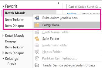 Anda dapat membuat subfolder baru dengan menggunakan menu klik kanan.