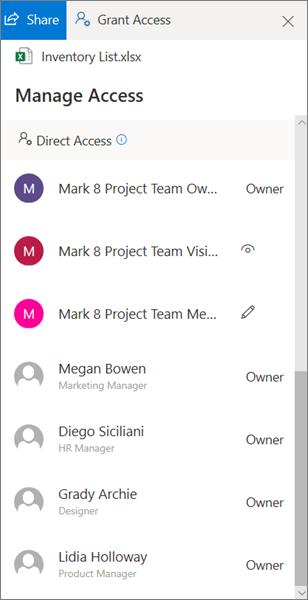 Bagian akses langsung dari panel Kelola akses di OneDrive for Business
