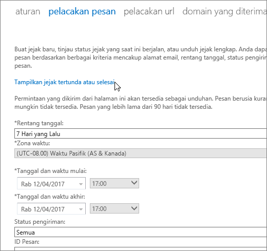 "Cuplikan layar alat jejak pesan dengan kursor yang mengarah pada tautan ""Tampilkan jejak yang tertunda atau telah selesai""."