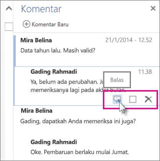 Gambar perintah Balas di bawah komentar di panel Komentar di Word Web App.
