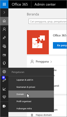 Klik Domain pada halaman Admin Office 365