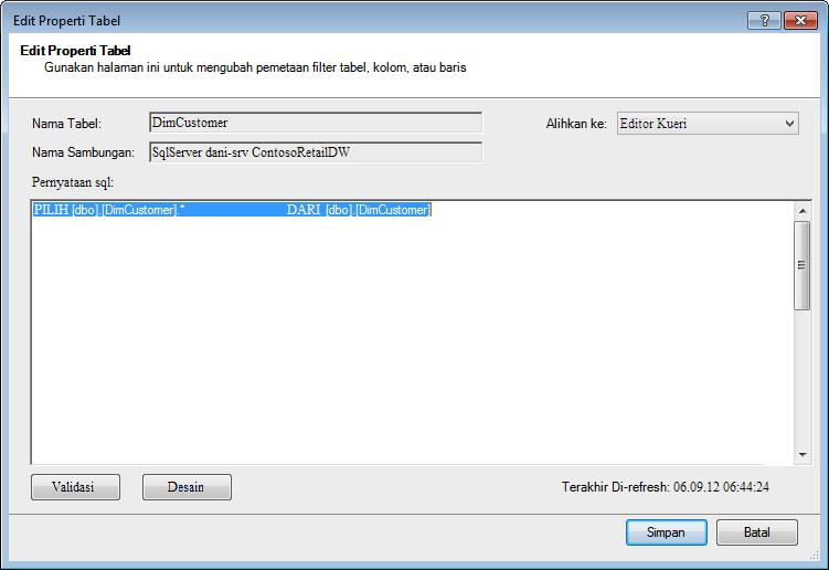 Kueri SQL menggunakan sintaks default yang lebih singkat.