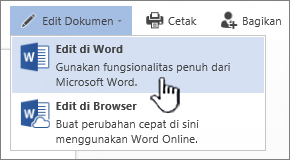 Dokumen Word yang dibuka dari pustaka SharePoint dengan Edit di Word yang disorot