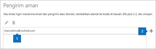 Cuplikan layar halaman pengirim aman.