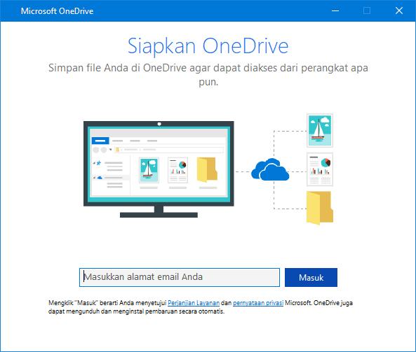 UI baru layar penyiapan OneDrive