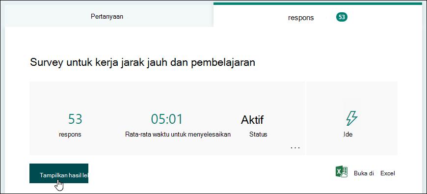 Tombol Tampilkan hasil pada tab respons dari formulir di Microsoft Forms