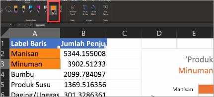 Pena Tindakan Perperlihatkan di Excel
