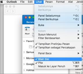 Pilih tampilan > bilah sisi untuk melihat daftar folder
