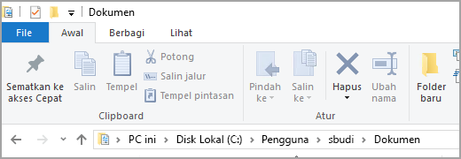 Lokasi folder Dokumen default