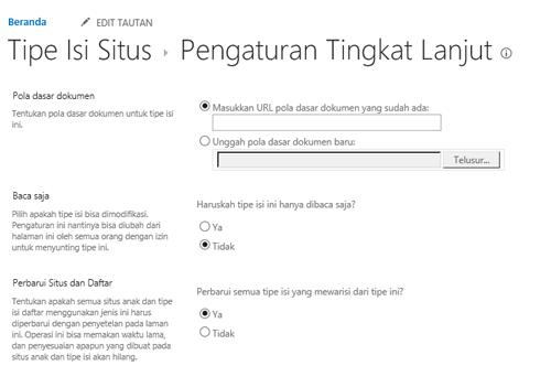 Masukkan URL untuk Templat dokumen dalam tipe konten situs: halaman pengaturan tingkat lanjut