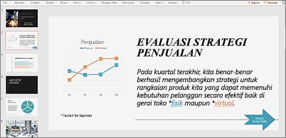 Slide berisi bagan dan teks dengan dua hyperlink dalam presentasi