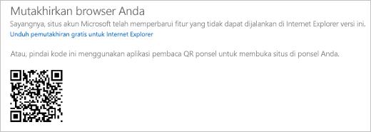 Pesan Mutakhirkan browser Anda