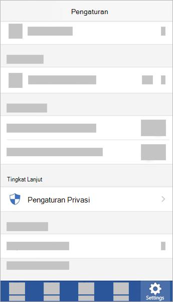 Cuplikan layar tombol pengaturan privasi