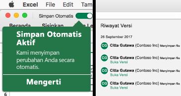 Pita Excel dengan gelembung Simpan Otomatis di sebelah kiri dan daftar riwayat versi di sebelah kanan