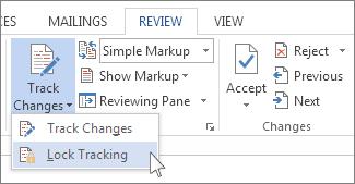 Kunci perubahan perintah pada menu Lacak perubahan