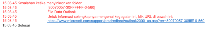 Masalah Sinkronisasi Kesalahan Folder 80070057-30FFFFFF-0-560