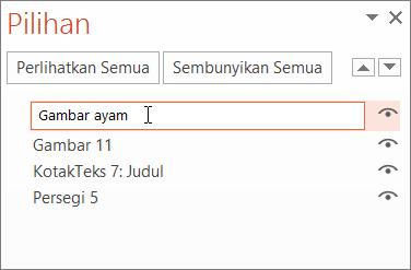 Mengubah nama objek default