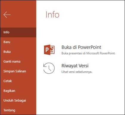 Tab Info dari Office Online memperlihatkan item Riwayat Versi.