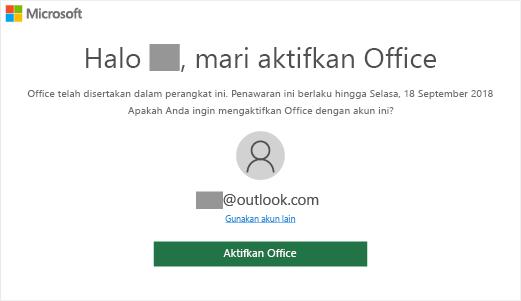 """Menampilkan layar """"Mari aktifkan Office"""" yang menunjukkan bahwa Office disertakan pada perangkat ini"""